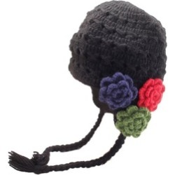 CH111F2 Crochet Flower Detail Earflap Hat