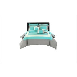 Chic Home Cs1457-Us 10 Piece Lord Complete Pieced Color Block Bedding