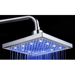 LED Color-Changing Stainless Steel Square Shower Head