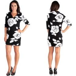 24seven Comfort Apparel Classy Black and White Rose Print Collared Min