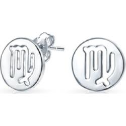 .925 Silver Virgo Zodiac Sign Round Disc Stud Earrings