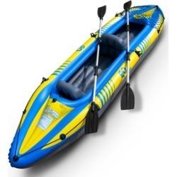 2-Person Inflatable Canoe Boat Kayak Set W/ Aluminum Alloy Oar