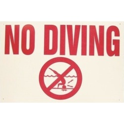 Valterra Products B8725 Blue Devil 18 x 12 In. No Diving Allowed Sign