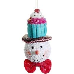 "8.5"" Cupcake Heaven Glitter Snowman Cupcake Hat Christmas Ornament"