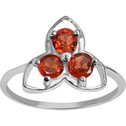 Orchid Jewelry 925 Sterling Silver 1/3 Carat Garnet Floral Ring