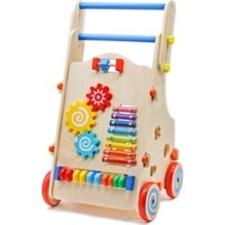 Adjustable Wooden Baby Walker Toddler Toys with Multiple Activity Toys