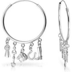 Bling Jewelry Horseshoe Equestrian Dangle Charms 925 Hoop Earrings