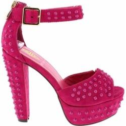Fuchsia Open Toe Stud Platform Anklet Women's Heels Sandals