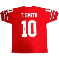 Autographed Troy Smith Ohio State Buckeyes Red Custom Jersey