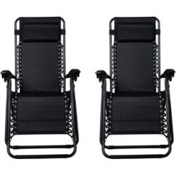 Chairs Zero Gravity Case 2 Black Lounge Patio Outdoor Yard Beach