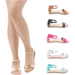 Women's Ankle Strap Open Toe Flat Slide Sandal