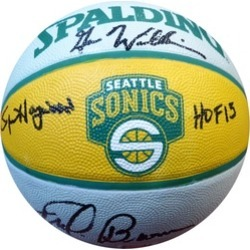 Autographed Team Legends Seattle Sonics Logo Basketball