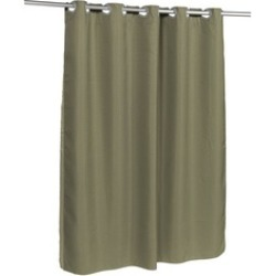 Carnation Home Fashions Pre Hooked Waffle Weave Fabric Shower Curtain