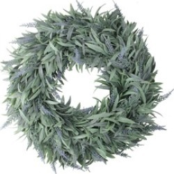 "17"" Artificial Dusty Blue Decorative Springtime Wispy Lavender Wreath"