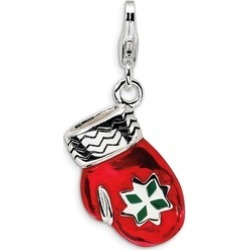 Sterling Silver Rhodium Plated 3-D Enameled Red Mitten Lobster Charm