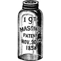 Mason Jar. Na One-Quart Mason Jar. Wood Engraving 19Th Century. Poster Print by