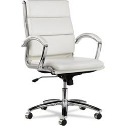 Alera Neratoli Mid-Back Swivel/Tilt Chair, White Stain-Resistant