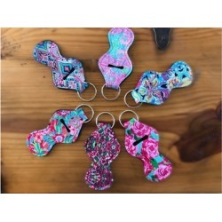 Fun Patterned Chapstick Holder Keychains - 3 pack