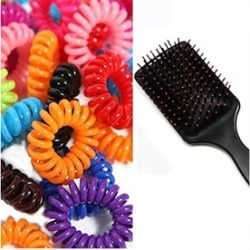 Women's Long Handle Hair Brush Scalp Massager With Hair Ties Hair Accessories