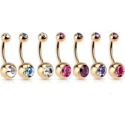 Rose Gold IP Steel Double CZ Gem Belly Button Navel Ring