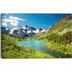 Mountain Lake with Green Hills - Photo Canvas Art Print