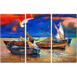 Fishing Boats Under Blue Sky Seascape Metal Wall Art 36x28 3 Panels