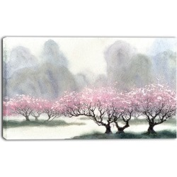 Flowering Trees at Spring - Landscape Canvas Print