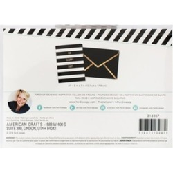 American Crafts HS313287 Oh Happy Day Black & White Stripe - Cards A7 - Pack of