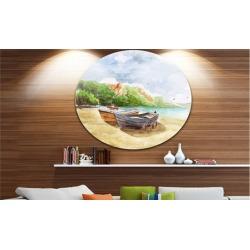 Watercolor Fishing Boats' Landscape Circle Metal Wall Art