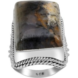 Orchid Jewelry 925 Sterling Silver 25 2/5 Carat Moss Agate Ring