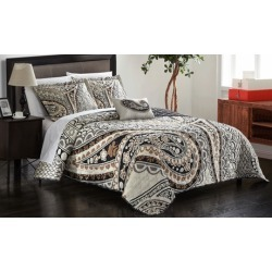 Reversible Large-Scale Paisley Pattern Quilt Set (4-Piece)