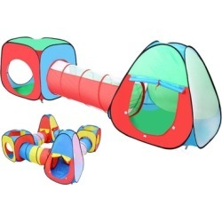Children Play Tent Set of Square Cubby Triangle Spring Pop Tunnel
