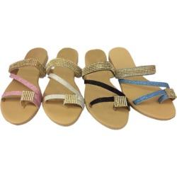 Women's Rhinestone Sandals with Toe Strap