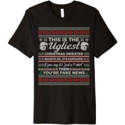 Trump Ugly Christmas Sweater T-Shirt Fantastic Fake News