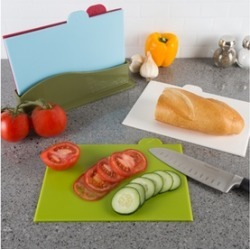 Plastic Cutting Boards with Storage Container Set (5-Piece)