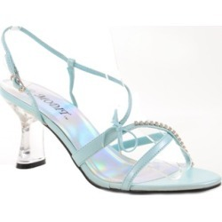 Clear Jeweled Strappy Blue Low Heel Slide Womens Heels