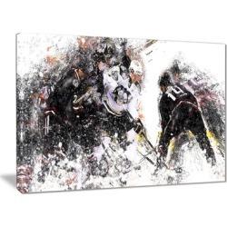 Hockey Face Off - Large Sport Canvas Art Print