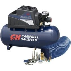 Air Compressor, Portable, 3 Gallon Horizontal, Oilless