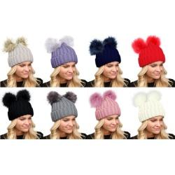 Women's Winter Chunky Knit Faux Fur Double Pom Pom Beanie Hat.
