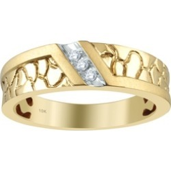 14K Yellow Gold Diamond Accent Men's Wedding Ring by Diamond Hub found on MODAPINS from groupon for USD $396.99