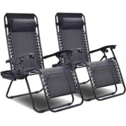 Outdoor Zero Gravity Recliner Folding Chair Set with Cup Holders (Set of 2)