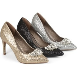 Journee Collection Womens Pointed Toe Jewel Glitter Heels