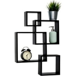 Intersecting Squares Floating Shelf Wall Mounted Home Decor, Black