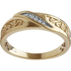 Diamond Accent Men's Wedding Ring in 10K Yellow Gold by The Jewelry Hub found on MODAPINS from groupon for USD $249.00