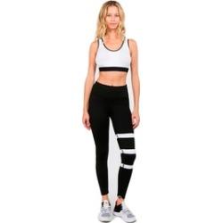 Women'S Active Varsity Striped Workout Leggings W/Pocket