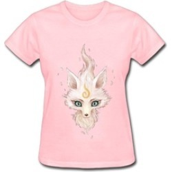 White Fox T Shirts For Women Funny Round Neck Black