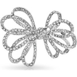 Bling Jewelry Ribbon Bow Bridal Jewelry Brooch Crystal Silver Plated