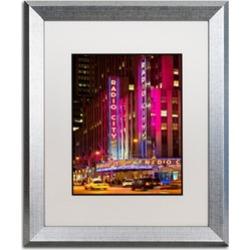 Philippe Hugonnard 'Night Walk in Manhattan' Silver Framed Art