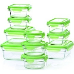 Glasslock Green Lid: 20pc Tempered Glass set~Microwave & Oven Safe