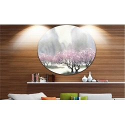 Flowering Trees at Spring' Landscape Circle Metal Wall Art